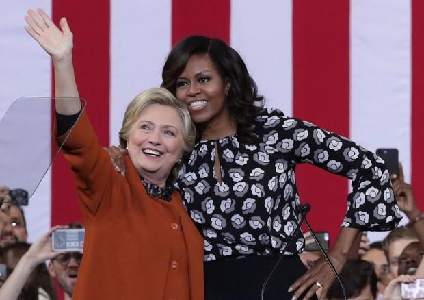 Assim como Barack Obama, Michelle apoiou a candidatura de Hillary Clinton para a presidência dos EUA (Foto: Getty Images)