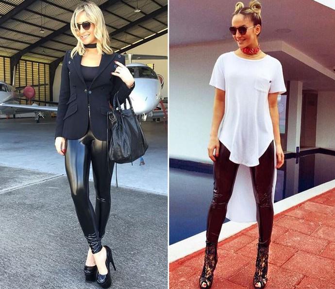 0335844f2 Calça de couro preta  Claudia Leitte conjuga com diferentes acessórios e...