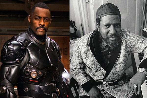 Idris Elba em 'Círculo de Fogo' (2013) e Thelonious Monk (Foto: Divulgação / Getty Images)