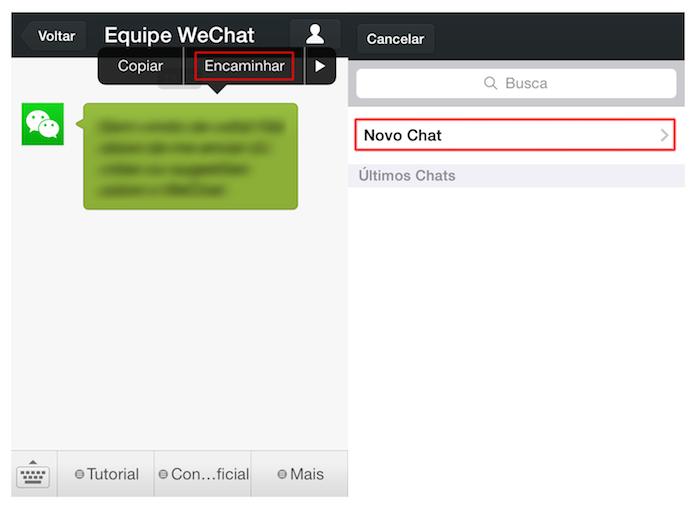 Acessando a opção de encaminhamento de mensagens no WeChat (Foto: Reprodução/Marvin Costa)