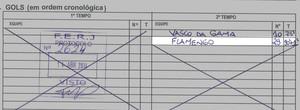 Documento jogo Flamengo Vasco, Gol Nixon (Foto: Reprodução)