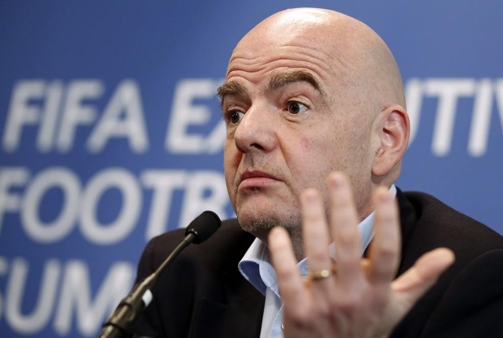Presidente Gianni Infantino durante reunião do Comitê Executivo da Fifa (Foto: Reuters / Matthew Childs)