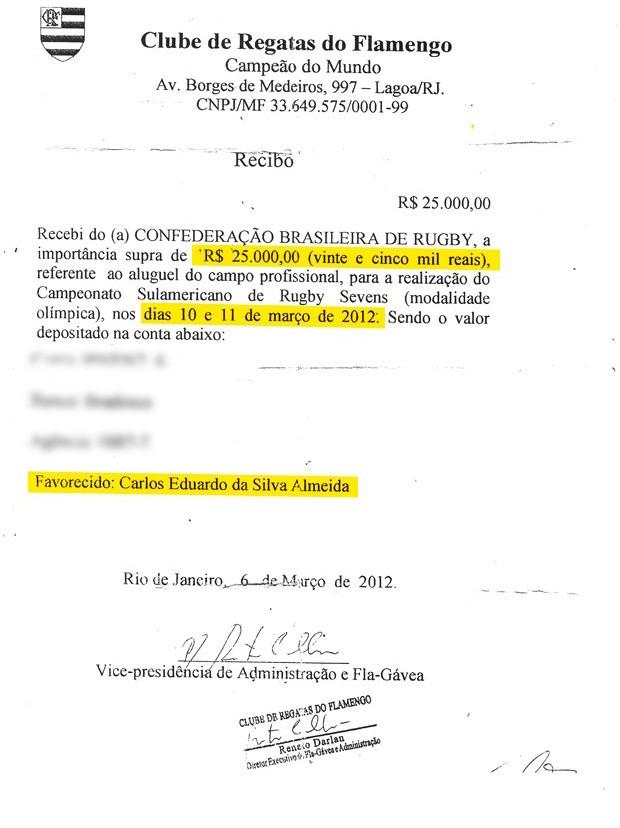 Recibo Flamengo Destaque (Foto: Reprodução)