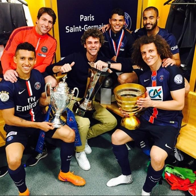 Guga campeãos PSG copa da frança david luiz, lucas, Maxwell, Marquinhos, Thiago Silva (Foto: Reprodução/Instagram)