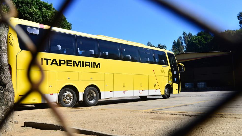 Garagem da Viação Itapemirim em Cariacica, ES (Foto: Bernardo Coutinho/ A Gazeta)