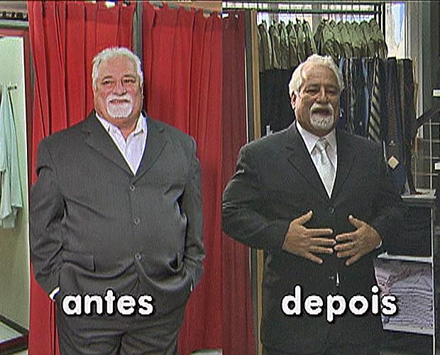 Antes e depois: 21 quilos a menos para levar a filha ao altar (Foto: Mais Você/TV Globo)