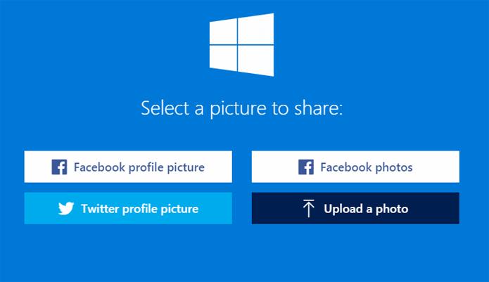 Foto pode ser escolhida dos álbuns de redes sociais ou carregada do computador (Foto: Reprodução/Twibbon)