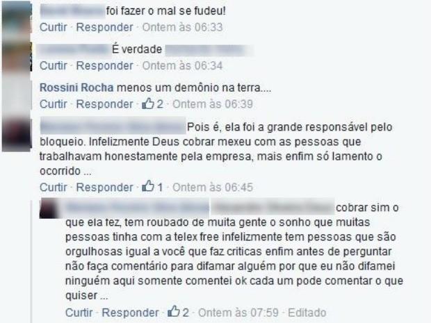 Postagens com ofensas à promotora morta foram postadas na internet (Foto: Reprodução/Facebook)