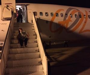 Foto tirada pelo marido de Katya, Ricardo, enquanto ela embarcava no avião (Foto: Arquivo pessoal)
