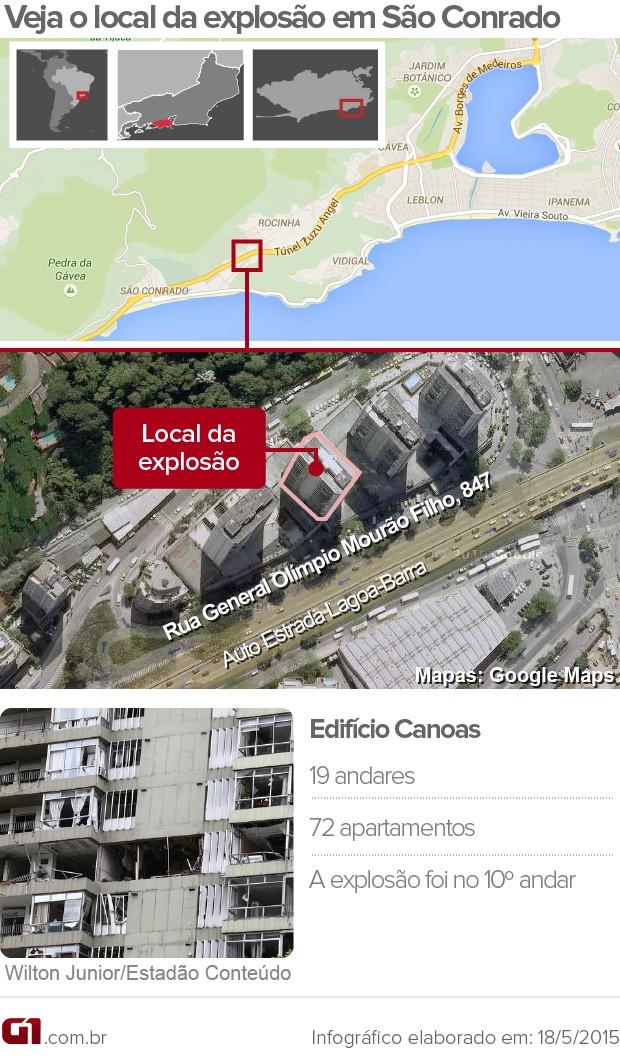 arte infográfico prédio São Conrado explosão (Foto: Editoria de Arte / G1)