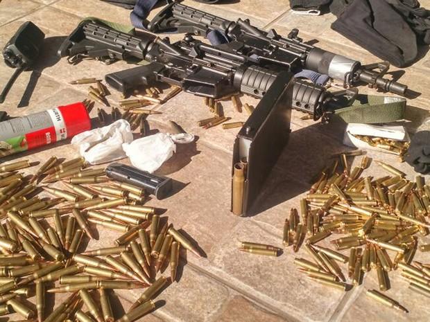 Armas apreendidas com suspeitos de atacar Protege no ABC (Foto: Reprodução/WhatsApp)