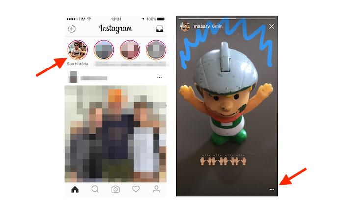 Acessando as configurações para uma história do Instagram (Foto: Reprodução/Marvin Costa)