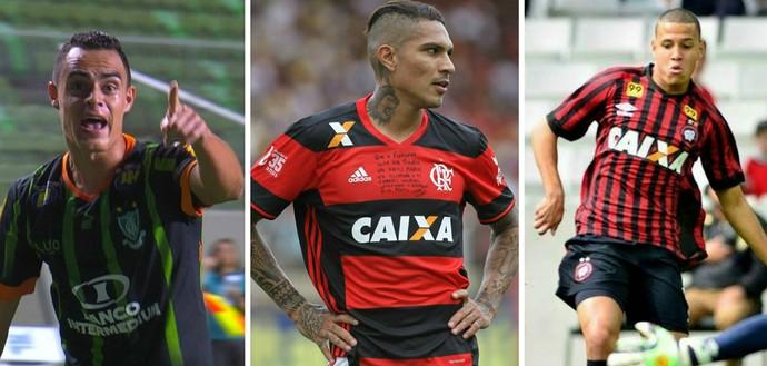 Os capixabas Victor Rangel, do América-MG e Sidcley, do Atlético-PR, podem enfrentar o Flamengo do peruano Guerrero no Espírito Santo (Foto: Montagem/GE)