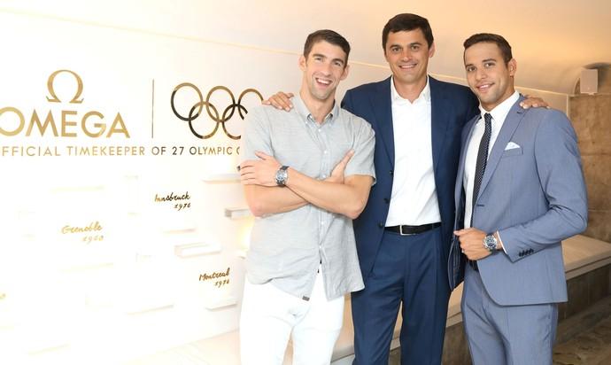 Michael Phelps, Chad Le Clos e Alexander Popov OMEGA natação (Foto: Divulgação)