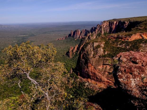 Paredões na região do Portão do Inferno chegam a 150 metros de altura.  (Foto: José Medeiros/GCOM-MT)
