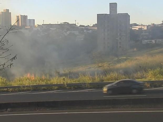 Chamas atingiram as margens da Rodovia do Contorno, em Marília (Foto: TV TEM/Reprodução)