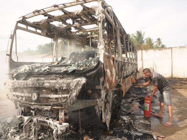 Moradores ajudaram a apagar fogo em ônibus escolar (Foto: C4 Notícias)