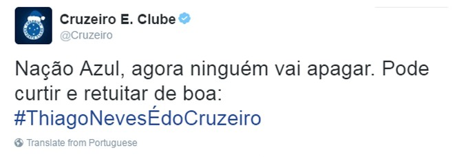 Cruzeiro confirma Thiago Neves (Foto: Reprodução / Twitter)