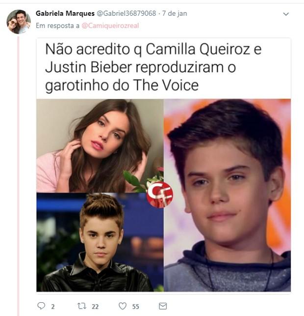 Internautas comentam semelhança entre Camila Queiroz e João Henrique (Foto: Reprodução/Twitter)