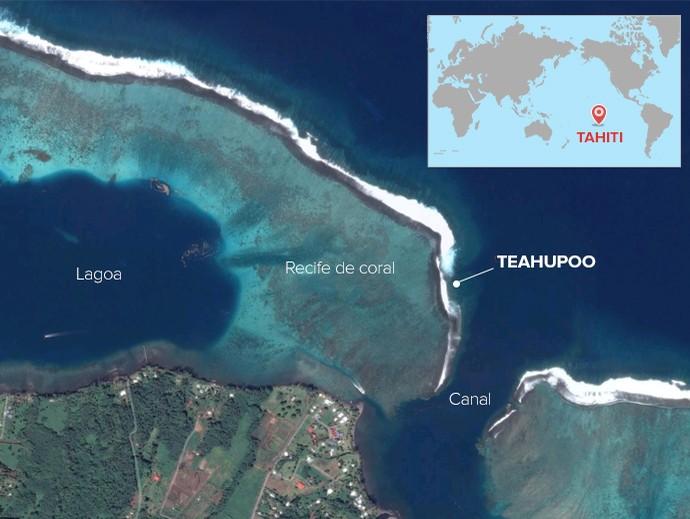 mapa localização teahupoo (Foto: arte esporte)