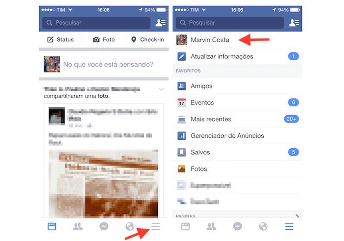 Acessando o perfil do Facebook pelo iPhone (Foto: Reprodução/Marvin Costa)