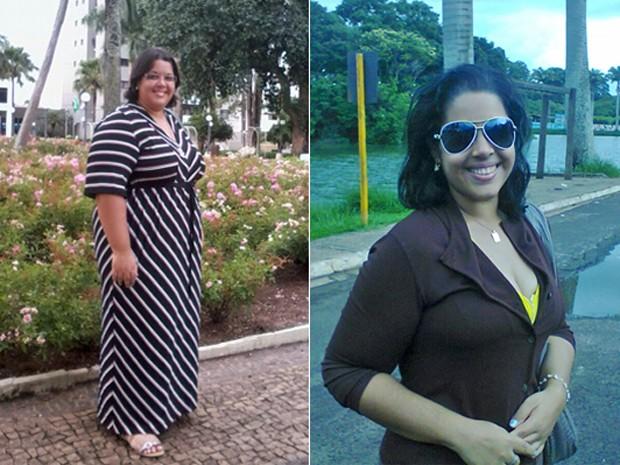 Por causa do excesso de peso, ela se isolou e encontrou refúgio nos relacionamentos virtuais; fotos mostram antes e depois (Foto: Arquivo pessoal)