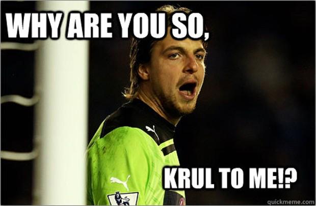 'Por que você é tão cruel comigo?' pergunta o meme, fazendo trocadilho com o sobrenome do terceiro goleiro da Holanda e a palavra 'cruel' em inglês (Foto: Reprodução)