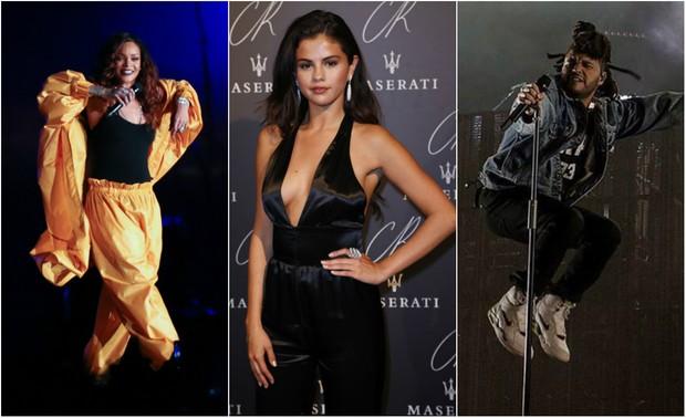Rihanna, Selena Gomez e Abel Tesfaye, vocalista da banda The Weeknd (Foto: Francisco Cepeda/Agnews/AFP/Instagram)