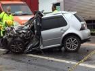 Acidente destrói parcialmente carro e mata homem na BR-101, em Campos