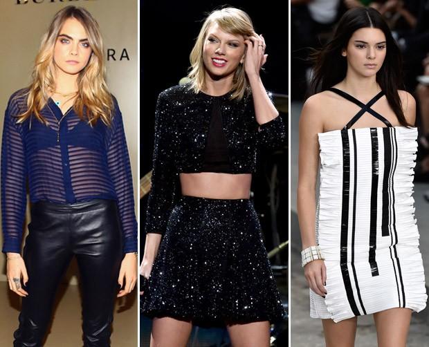 """Meninas de sucesso: Cara posa em evento da Burberry, Taylor ganha destaque com o lbum """"1989"""" e Kendall na passarela da Chanel (Foto: Getty Images)"""