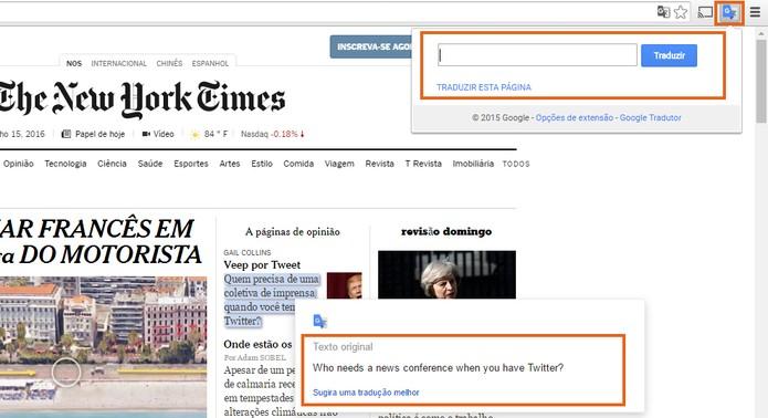 Google Tradutor também tem extensão para navegador (Foto: Reprodução/Barbara Mannara)