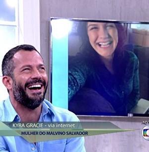 Kyra elogia o amado Malvino: 'Paizão' (Encontro com Fátima Bernardes/TV Globo)