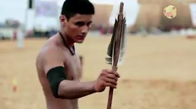 Rocleiton Flores, prata no arremesso de lança dos Jogos Mundiais dos Povos Indígenas (Foto: Divulgação/JMPI)