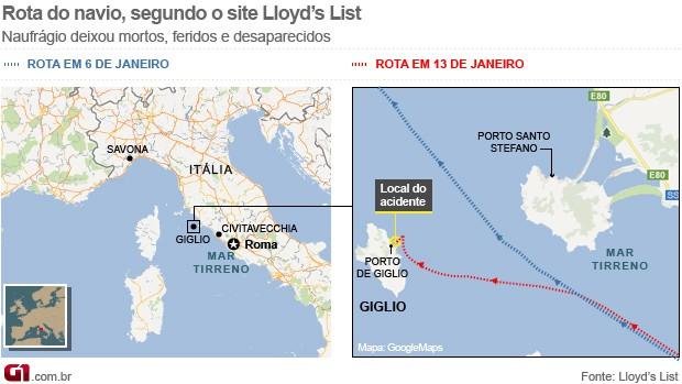 Rota naufrágio Itália - horizontal (Foto: Editoria de Arte/G1)