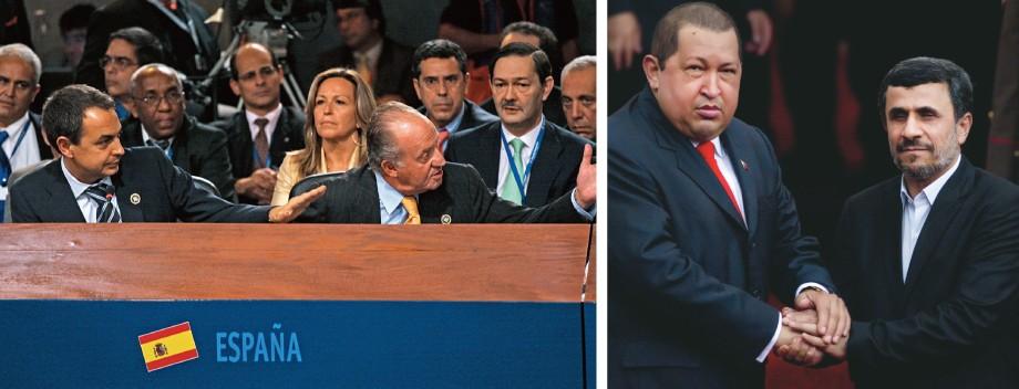 """ENTRE LÍDERES À direita, Chávez aperta as mãos do iraniano Mahmoud Ahmadinejad, condecorado por ele. Acima, o rei Juan Carlos, da Espanha, ao proferir a célebre frase a Chávez: """"Por que não te calas?"""" (Foto: AP)"""