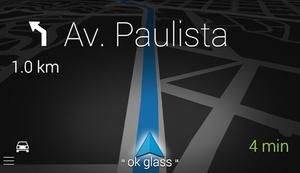 Print da tela de navegação do Google Glass (Foto: Reprodução)