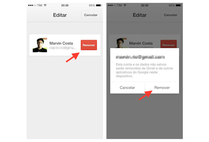 Removendo uma conta do Gmail no iPhone (Foto: Reprodução/Marvin Costa)