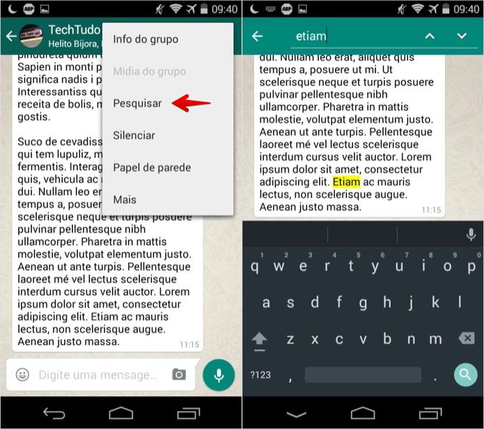 Pesquisando o conteúdo das mensagens (Foto: Reprodução/Helito Bijora)  (Foto: Pesquisando o conteúdo das mensagens (Foto: Reprodução/Helito Bijora) )