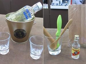 Kits para bebidas são oferecidos como lembrancinhas (Foto: Karina Trevizan/G1)