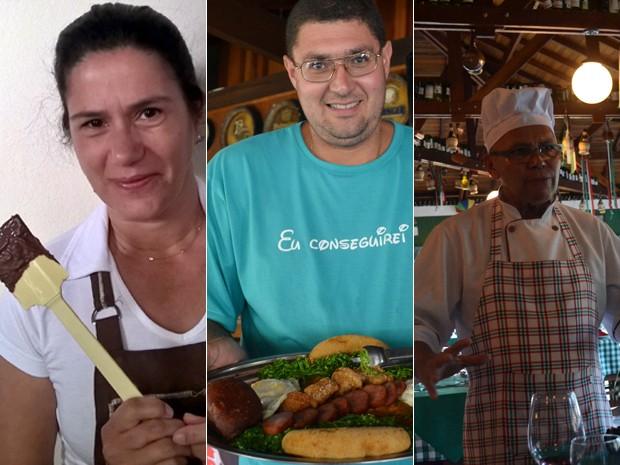 Da esq. para a dir.: Silvia Urias, Leandro Schultz e Severino Alves - alguns dos mestres da culinária de Monte Verde, MG (Foto: Daniela Ayres/ G1)