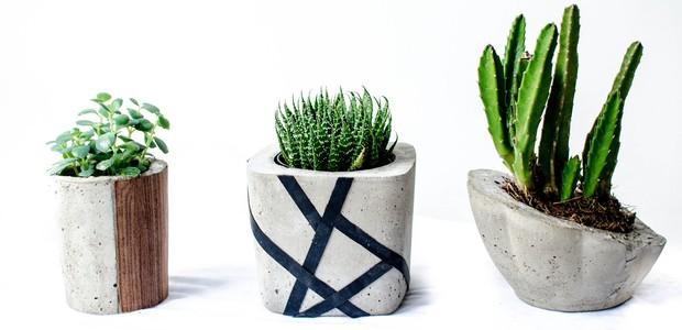 O conjunto de vasos Concreto, da arquiteta Natália Rizzo, estará disponível na Puro Design Handmade (Foto: Divulgação)
