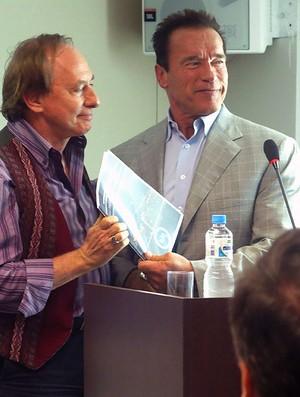 Arnold Schwarzenegger Carlos Minc shopping evento (Foto: Amanda Kestelman)