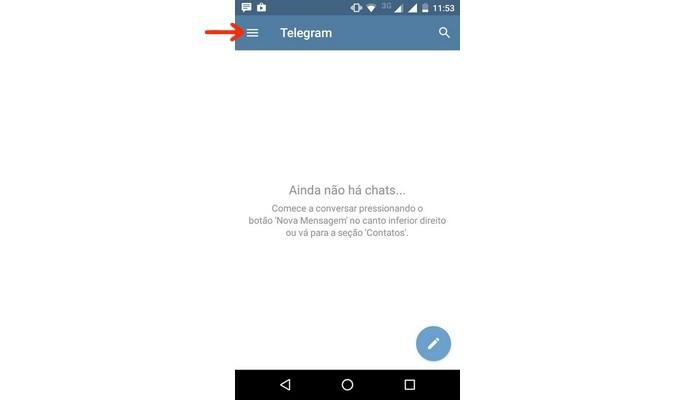 Destaque para ícone do menu principal do Telegram (Foto: Reprodução/Raquel Freire)
