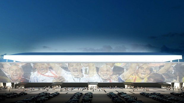 projeto Estádio Corinthians obras telão  (Foto: Divulgação)