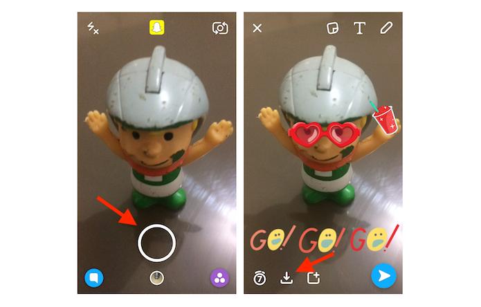 Salvando um snap na visualização Memórias do Snapchat (Foto: Reprodução/Marvin Costa)