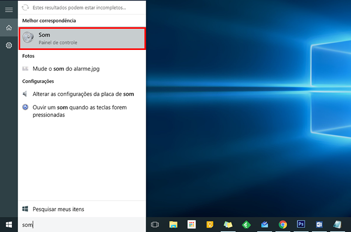 Acesse as configurações de som do Windows (Foto: Reprodução/Paulo Alves)