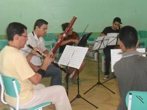 Cinco professores da Camerata Nordestina ministraram as aulas  (Foto: Andréia Machado/G1)