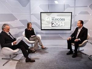 O candidato à Presidência pelo PSC, Pastor Everaldo, é entrevistado no estúdio do G1 em São Paulo (Foto: Caio Kenji/G1)