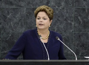 Dilma Rousseff discursa durante abertura da Assembleia Geral da ONU (Foto: Agência EFE)