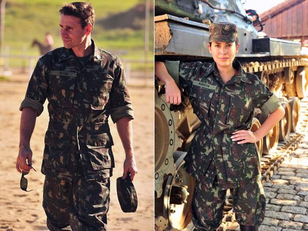 Murilo Rosa e Fernanda Paes Leme durante o treinamento na Academia Militar das Agulhas Negras (Foto: TV Globo / João Miguel Júnior)